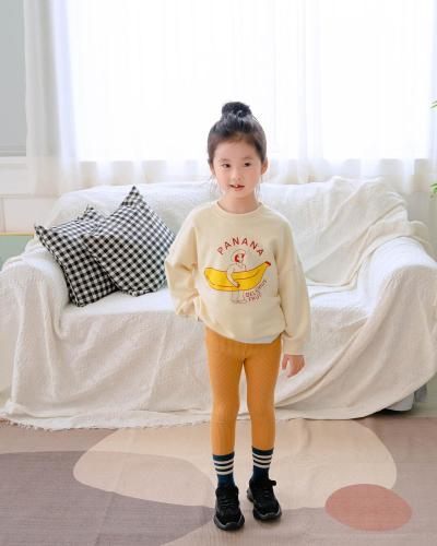 Family Matching Outfits Cartoon Banana Beige Long Sleeve Sweatshirt Tees Family Looking Fall Loose Children Sweatshirts
