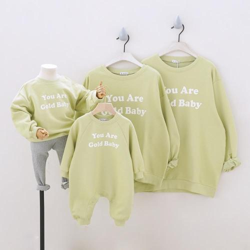 Family Looking Sweatshirts Coat Family of Four Set Sport Family Matching Outfits Letters Long Sleeve Sweatshirt Tees