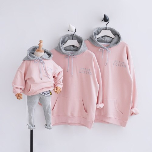 Father/Mother/kid Family Matching Outfits Hoodies Pocket Sweatshirts Family Look Clothing Hooded Dad Mom Daughter Clothes
