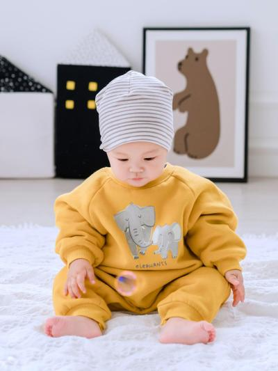 Winter Plus velvet Family Matching Outfits A Family of Four Cartoon Elephant Sweatshirt Shirt Baby Long Romper Couple suit
