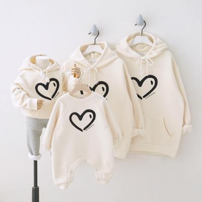 Winter Plus velvet Love Heart Family Matching Outfits Hooded Sweatshirt Parents & Kids Shirt Baby Long Romper Couple suit