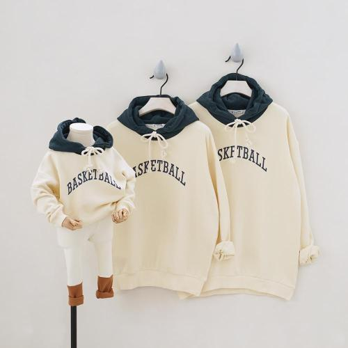 Basketball Father Mother kid Hoodies Family Look Clothing Hooded Family Matching Outfits Sweatshirts