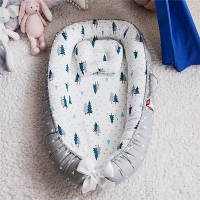 Newborn Baby Nest Bed Portable Crib Travel Bed Baby Lounge Bassinet Bumper with Pillow Cushion