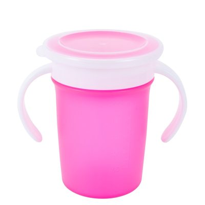 360 Degrees Can Be Rotated Baby Learning Drinking Cup with Double Handle Flip Lid Leakproof Infants Water Cups