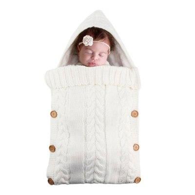 Newborn Infant Knitted Crochet Hooded Sleeping Bags Baby Sleepsack Footmuff Button Blanket