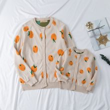 Knitted Orange Cardigan Family Matching Outfits Cotton Sweaters Family Looking Clothes
