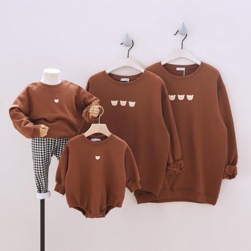 Sport Family Matching Outfits for Family of Four Long Sleeve Sweatshirt Tees Baby Romper Family Looking Sweatshirts Set