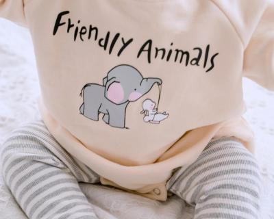 Cute Elephant Family Matching Outfits for Family of Four Beige Sweatshirt  Kids Tops Baby Romper Family Looking Clothes Set