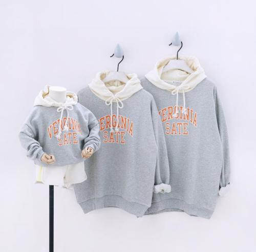 Fashion Street Hoodies Sweatshirts Family Matching Outfits for a Family of Three Korea Letters Hooded Clothes