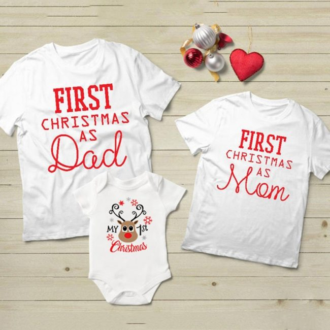 Family Matching Clothes T shirt Christmas Clothes Daddy Mom Baby First Christmas Baby Romper
