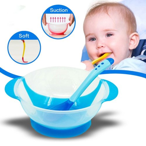 2Pcs/set Baby Learning Dishes With Suction Cup Kids Safety Dinnerware Set Assist Bowl Temperature Sensing Spoon Fork Tableware