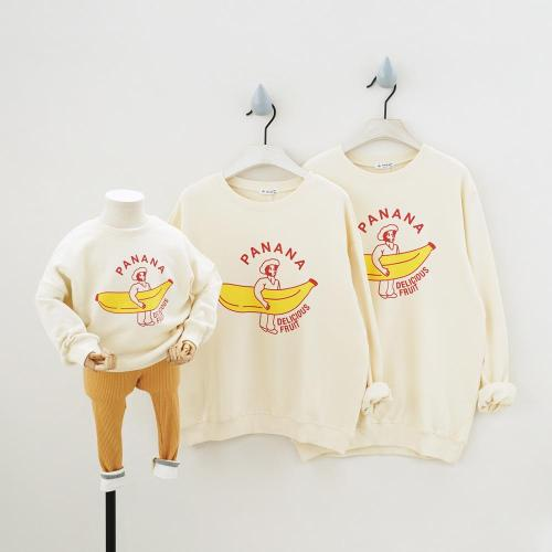 Family Matching Outfits Cartoon Banana Beige Long Sleeve Sweatshirt Tees Family Looking Fall Loose Children Sweatshirts