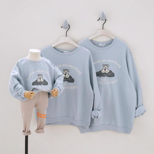 Cartoon Fashion Family of four in Parent-child Outfit Sweatshirt Family Matching Outfits Long Sleeve Tees Family Looking Tops