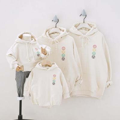 Smile Emoticons Couple Sweatshirt Family Matching Outfits Family of Four Long Sleeve Baby Romper Tees Family Looking Tops