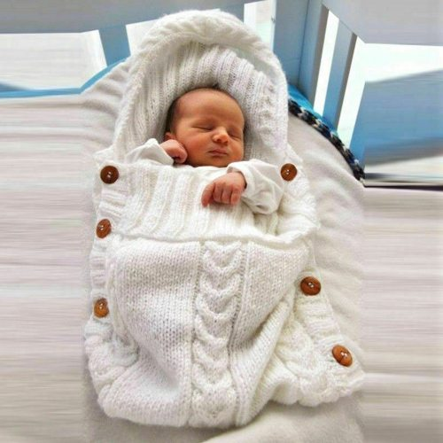 Newborn Infant Knitted Crochet Hooded Sleeping Bags Baby Sleepsack Footmuff Button Blanket