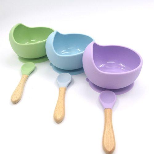 Silicone Baby Feeding Bowl Tableware Waterproof Spoon Non-Slip Crockery BPA Free Silicone Dishes