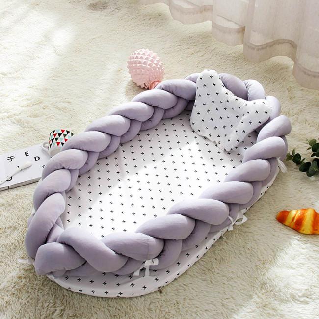 Portable Baby Knit Crib with Pillow Newborn Sleeping Nest Playen Bed Travel Bassinet Bumper