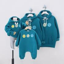Winter Plus Velvet Hooded Family Matching Outfits Smile Couple Set Sweatshirt Parents & Children Hoodies Baby Long Romper