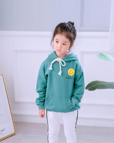 Smiley  Face Hooded Family Matching Outfits Sweatshirts Mom/Daddy/Kids Boy Girls Sport Mother Father  and I Pocket Clothes