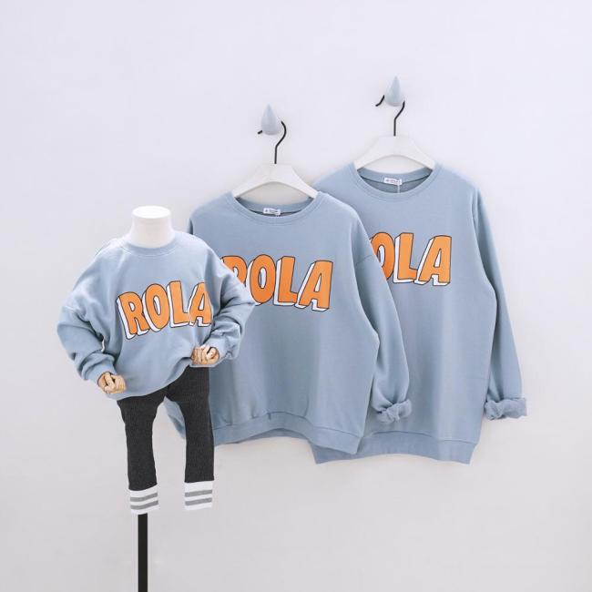 Family Matching Outfits Long Sleeve Sweatshirt Tees Family Look Clothing Letter Clothes
