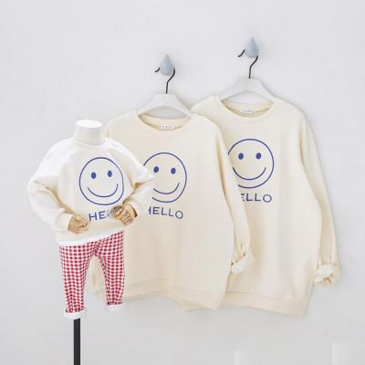 Hello Smile Face Dojhonkids Parent-Child Tees Clothing Fashion Family Matching T-Shirts Outfits Sweatshirts for Family Suits
