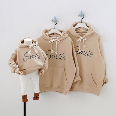 Fashion Sport Hoodies Family Matching Outfits Smile Sweatshirts for a Family of Three Casual Pockets Hooded Clothes Couple Wear
