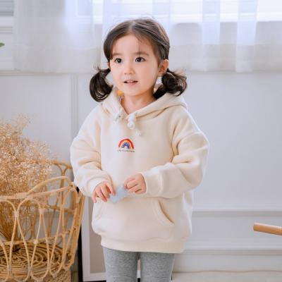 Rainbow Winter Hooded Family Matching Outfits Plus velvet Sweatshirt Parents & Kids Shirt Clothes