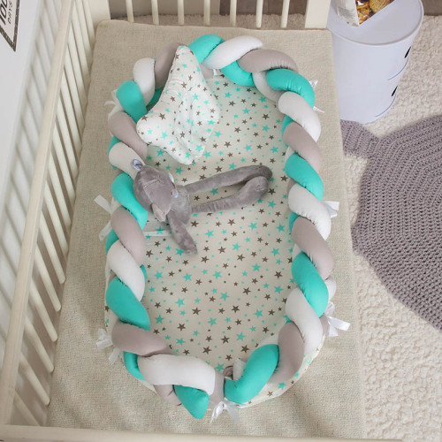 Portable Baby Knit Crib with Pillow Newborn Sleeping Nest Playen Bed Travel Bassinet Bumper