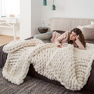 Fashion Hand Chunky Knitted Blanket Thick Yarn Wool-like Polyester Bulky Winter Soft Warm Blankets