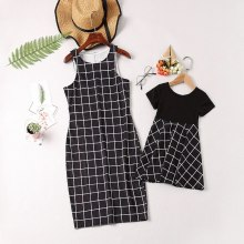 Mother daughter dresses Sleeveless Plaid Dress matching clothes