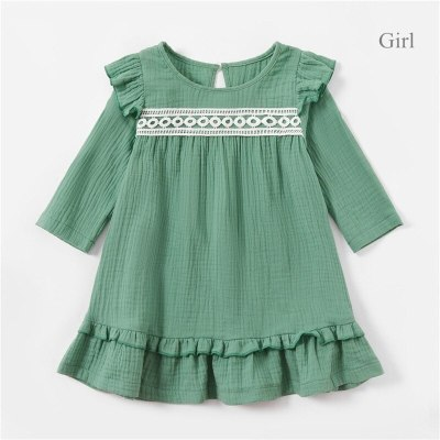 Mom and daughter dress Cute Lace Deco 100% Cotton Long sleeve Dress For Mother and daughter Family matching clothes