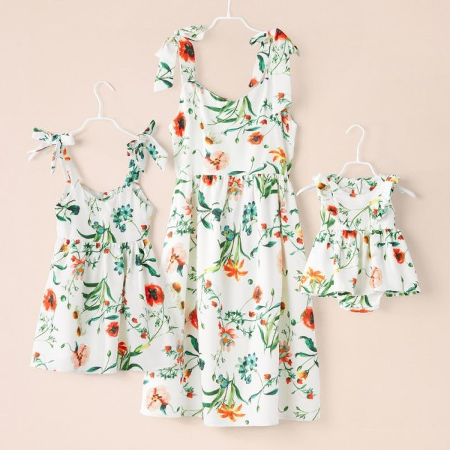 Family Dress Mother and Daughter Matching Outfits Dresses Floral Matching Clothes