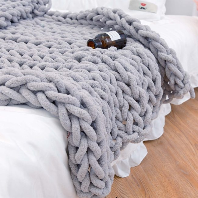Chunky Knitted Blanket Weaving Blanket Mat Throw Chair Decor Warm Yarn Knitted Blanket Home Decor For Photography