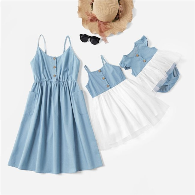 Mother Lace Dresses Family Clothing Mom and Daughter Dress Matching Family Outfits Dress for Kids and Women