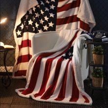 3D Digital Printing American flag Sherpa Blanket Fleece Wearable plush Throw Blanket on Bed Sofa