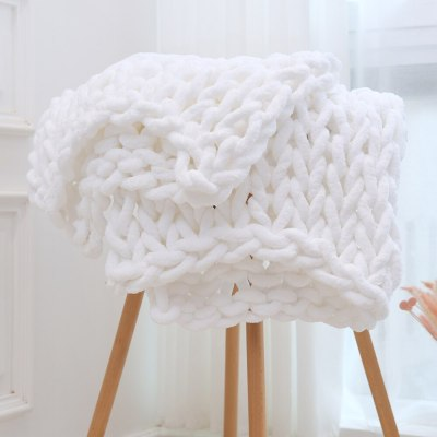 Chenille Chunky Knitted Blanket Weaving Blanket Mat Throw Chair Decor Warm Yarn Knitted Blanket Home Decor For Photography