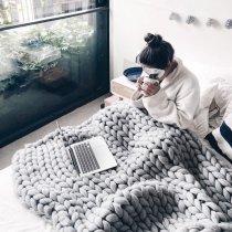 Chunky Knit Blanket Merino Wool Hand Made Throw Boho Bedroom Home Decor Giant Yarn