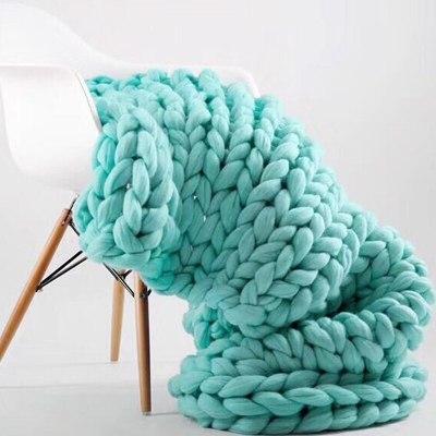 Chunky Knit Blanket Handmade Bulky Sofa Pet Mat Soft Knitting Throw Bed Rug Blanket Bedroom Decor