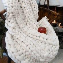 100X120cm Warm Handmade Chunky Knit Blanket Thick Line Sofa Bed Decor