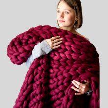 Chunky Knit Blanket Warm Soft Cozy for Sofa Bed Boho Home Decor