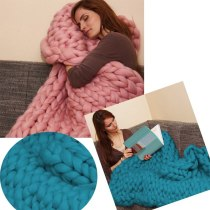 Chunky Knit Blanket Handmade Bulky Sofa Pet Mat