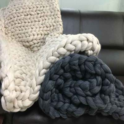 Soft Thick Line Blankets Hand Chunky Knitted Blanket Thick Yarn Merino Wool Bulky Knitting Throw Blankets