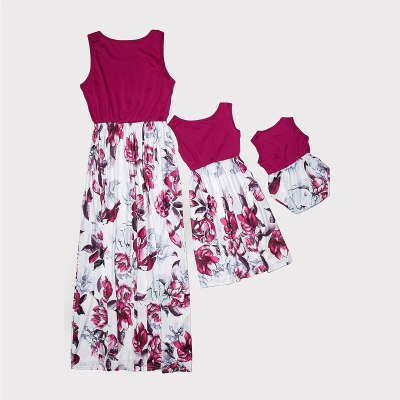 Sleeveless Family Look Mommy and Me clothes Floral Print High Waist Matching Dress Outfits