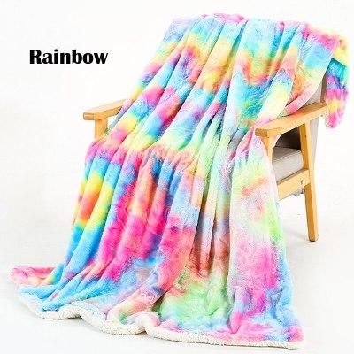 Rainbow Plush Blanket Super Soft Warm Fluffy Comfortable Nap Blanket Bedding Sofa Blanket
