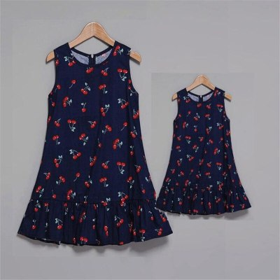 Mother and Daughter Dresses Family Look Sleeveless Mommy and Me Clothes