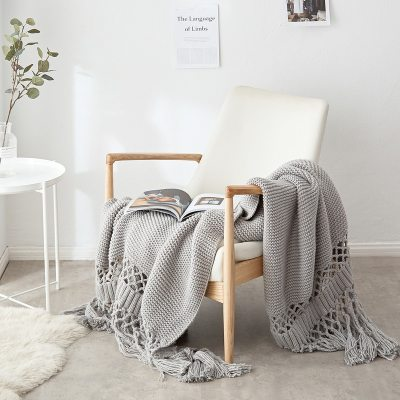 Blankets for Beds Hand-knitted Sofa Blanket Photo Props Tassel Weighted Blanket Chunky Knit Blanket