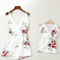 Mother Daughter Dresses Lace Floral Overall Family Look Mommy And Me Matching Clothes Outfits