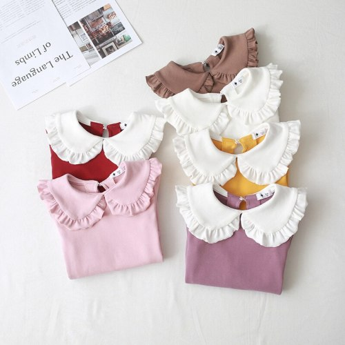 Children Girls Tops Peter pan Collar Cotton Bottom Shirt Long-sleeve T shirt for Baby Girls Tops