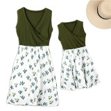 Mom and daughter dress Family Look Casual Cactus Print V-Neck Mini Dress Mommy and me clothes