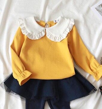 Children Girls Tops Peter pan Collar Cotton Bottom Shirt Long-sleeve T shirt for Baby Girls Tops